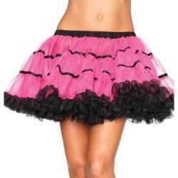 Luxe petticoat feest dames fuchsia zwart