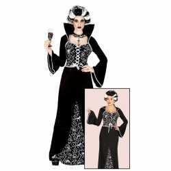 Luxe vampieren halloween jurk zwart/wit feest dames