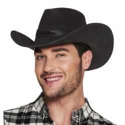 Luxe zwarte cowboyhoed wyoming lederlook feest volwassenen