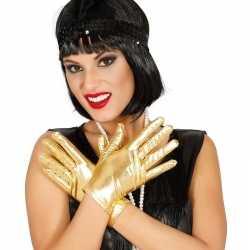 Metallic gouden verkleed handschoenen kort 22 centimeter