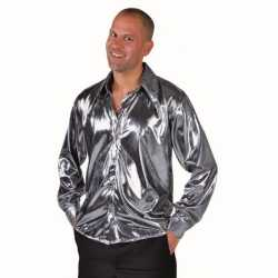 Metallic zilveren blouse feest volwassenen