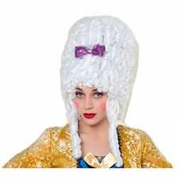 Middeleeuwse verkleed pruik barok wit feest dames
