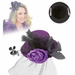 Mini hoed roos sluier paars
