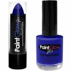 Neon blauwe uv lippenstift/lipstick nagellak schmink set