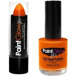 Neon oranje uv lippenstift/lipstick nagellak schmink set