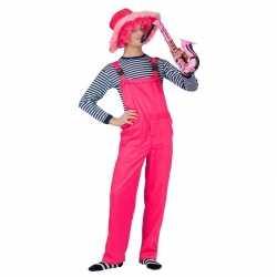 Neon roze tuinbroek feest volwassenen