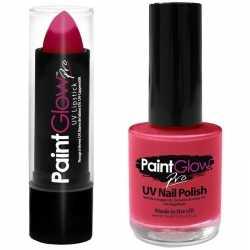 Neon roze uv lippenstift/lipstick nagellak schmink set