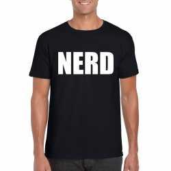 Nerd tekst t-shirt zwart heren