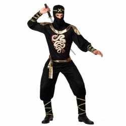 Ninja vechter verkleed kleding zwart/goud feest heren