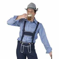 Oktoberfest blauw/wit geruit tiroler verkleed overhemd feest heren