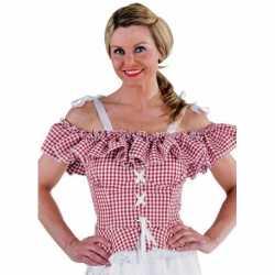 Oktoberfest Tiroler blouse Carmen rood geruit
