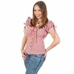 Oktoberfest tiroler blouse rood/wit feest dames