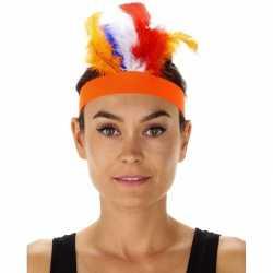 Oranje indianentooi verkleed hoofdband feest dames