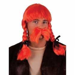 Oranje pruik snor set
