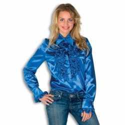 Overhemd blauw rouches dames
