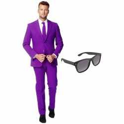 Paars heren kleding maat 56 (xxxl) gratis zonnebril