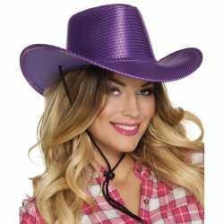 Paarse cowboyhoed howdy pailletten feest volwassenen