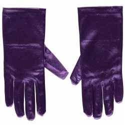 Paarse gala handschoenen kort van satijn 20 centimeter
