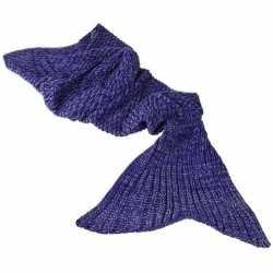 Paarse gebreide zeemeermin deken feest meisjes 140 centimeter