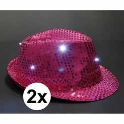 Pailletten trilby hoeden roze led light 2 stuks