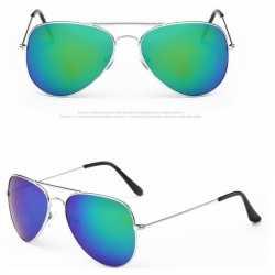 Pilotenbril zilver blauw/groene glazen feest volwassene