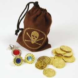 Piraten schat buidel goudstukke
