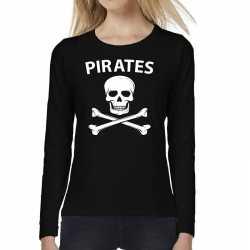 Pirates tekst t shirt long sleeve zwart feest dames