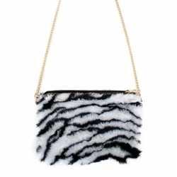 Pluche tasje zebra afgebeeld feest dames