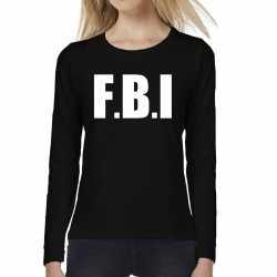Politie fbi tekst t shirt long sleeve zwart feest dames