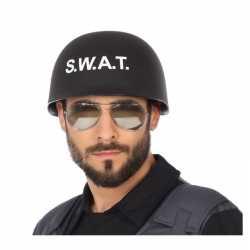 Politie swat verkleed helm feest volwassenen zwart