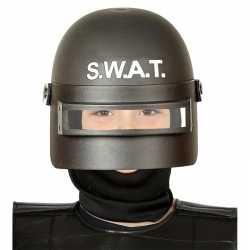 Politie swat verkleed helm vizier feest kinderen zwart