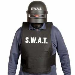 Politie swat verkleed helm vizier feest volwassenen zwart