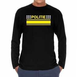 Politie verkleed t shirt long sleeve zwart feest heren