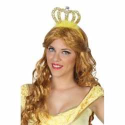Prinses/koningin verkleed diadeem gouden kroon