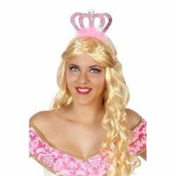Prinses/koningin verkleed diadeem roze kroon