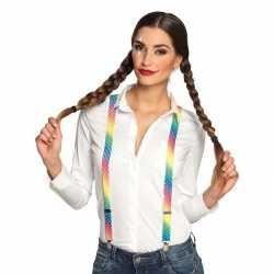 Regenboog bretels feest dames