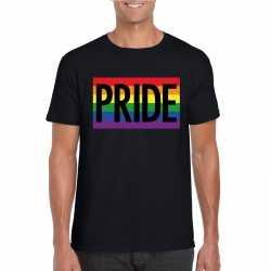 Regenboog vlag pride shirt zwart heren