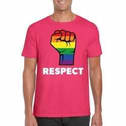 Respect lgbt shirt regenboog vuist roze heren