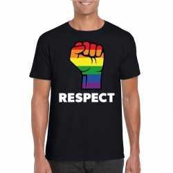 Respect lgbt shirt regenboog vuist zwart heren