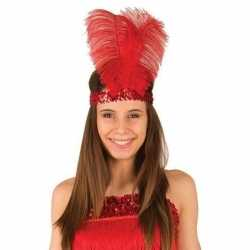 Rode charleston hoofdband veren feest dames