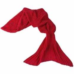 Rode gebreide zeemeermin deken feest meisjes 140 centimeter