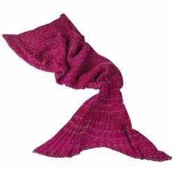 Rode gebreide zeemeermin deken volwassenen 180 centimeter