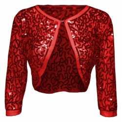 Rode glitter pailletten disco bolero jasje dames