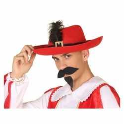 Rode musketier verkleed hoed feest volwassenen