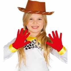 Rode verkleed handschoenen feest kinderen