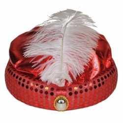 Rood arabisch sultan hoedje diamant veer