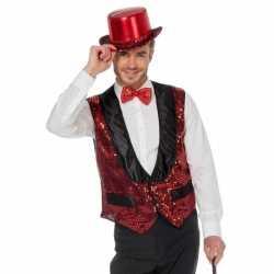 Rood glitter vestje feest heren