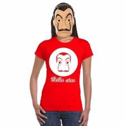 Rood salvador dali t shirt la casa de papel masker dames