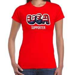 Rood t shirt usa / amerika supporter ek/ wk feest dames