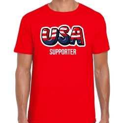 Rood t shirt usa / amerika supporter ek/ wk feest heren